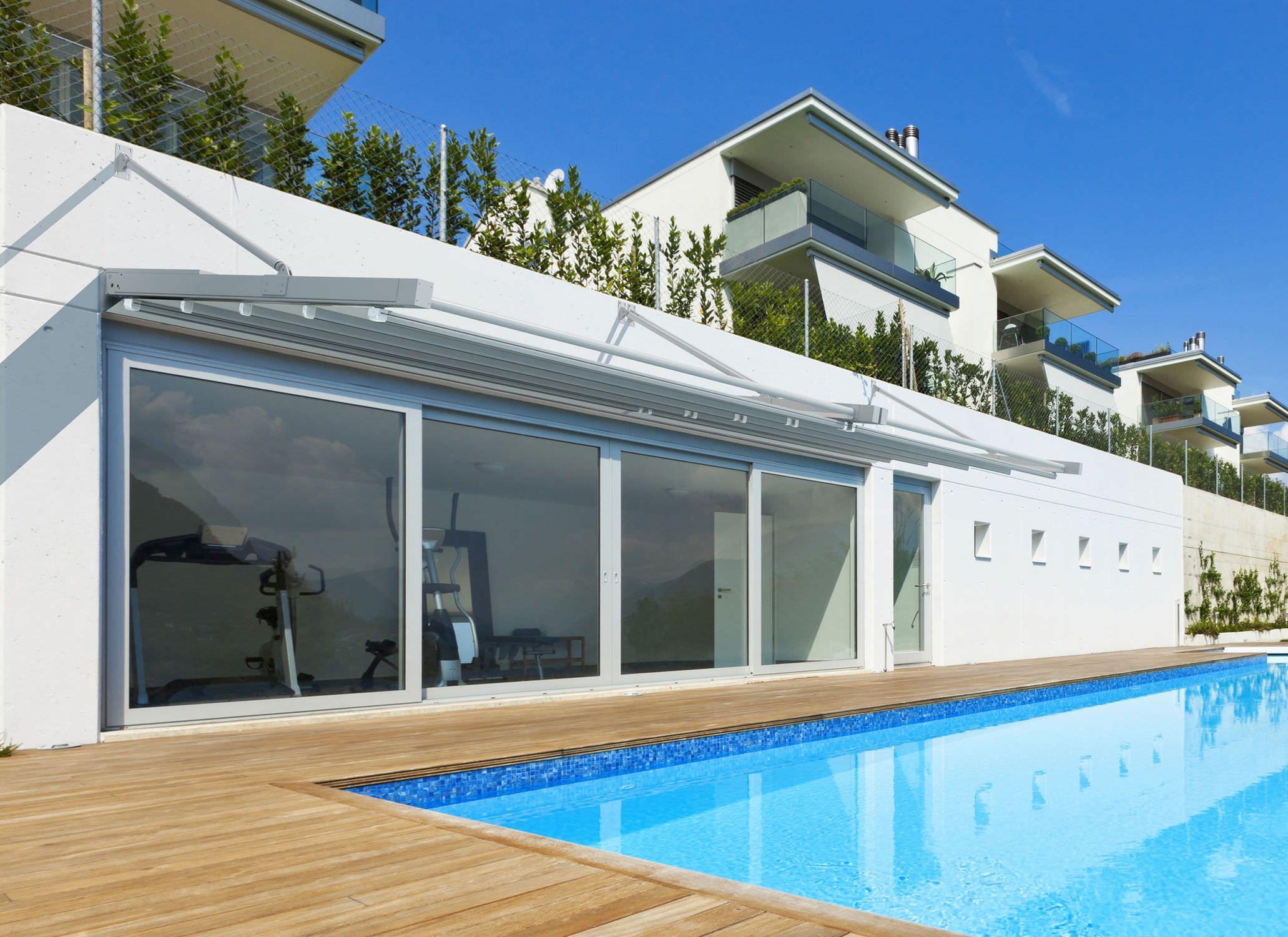 Pensilina per terrazza / in alluminio / con copertura in tela T4 KE ...