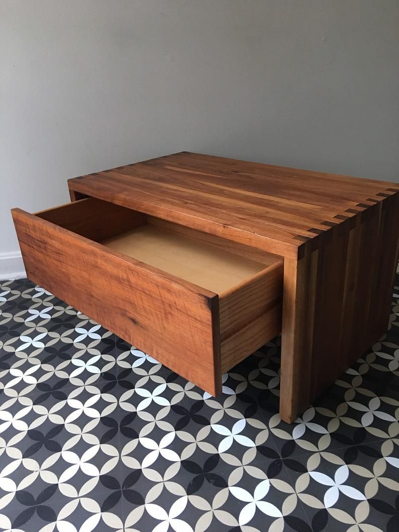 Retro Style Container Bedside Table: Pierre Chapo Manner Box Joint Small Bench With Drawer Or