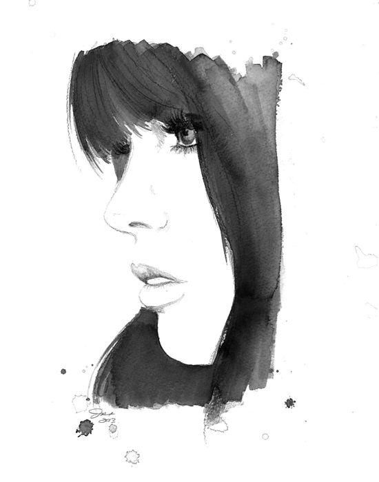 Watercolour By Jessica Durrant Black White Woman Illustration