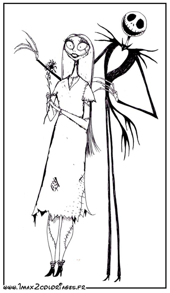 Coloriages Jack Et Sally Tim Burton Christmas Coloring Pages