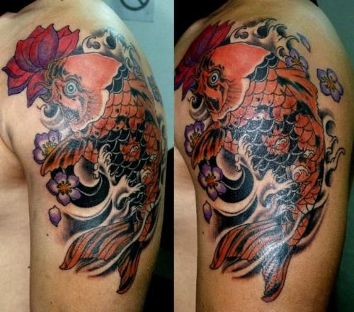 3d flower koi fish tattoo meanings for men inspiring tattoos pinterest flower tattoo. Black Bedroom Furniture Sets. Home Design Ideas