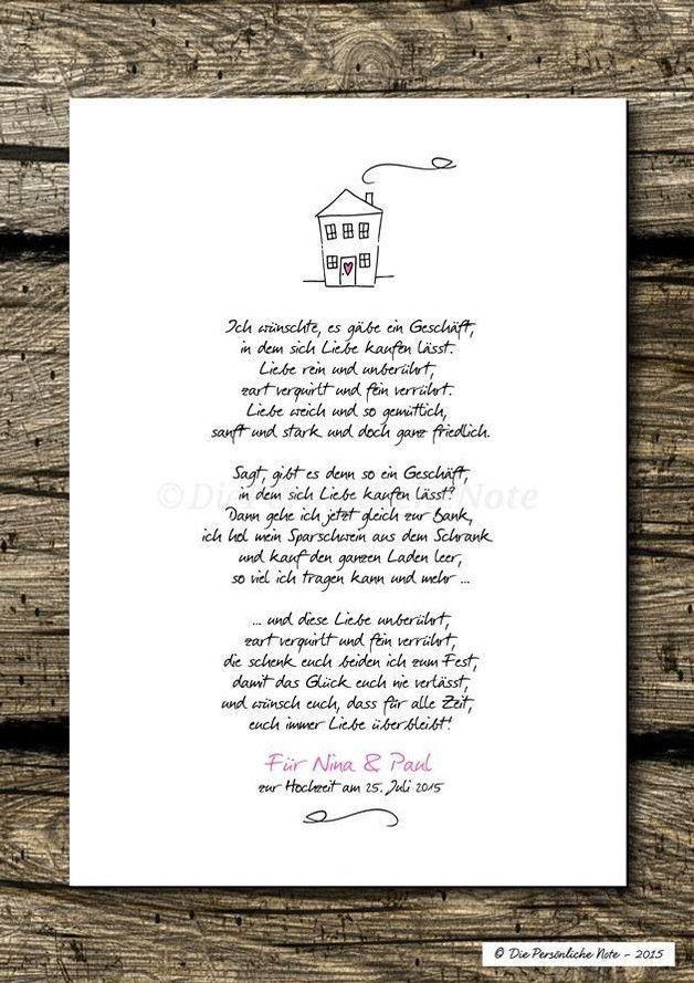 Druck Print Liebesgedicht zur Hochzeit Verlobung