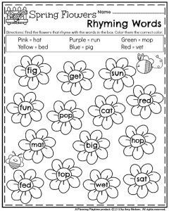 Kindergarten Worksheets for May | Kindergarten worksheets, Rhyming ...