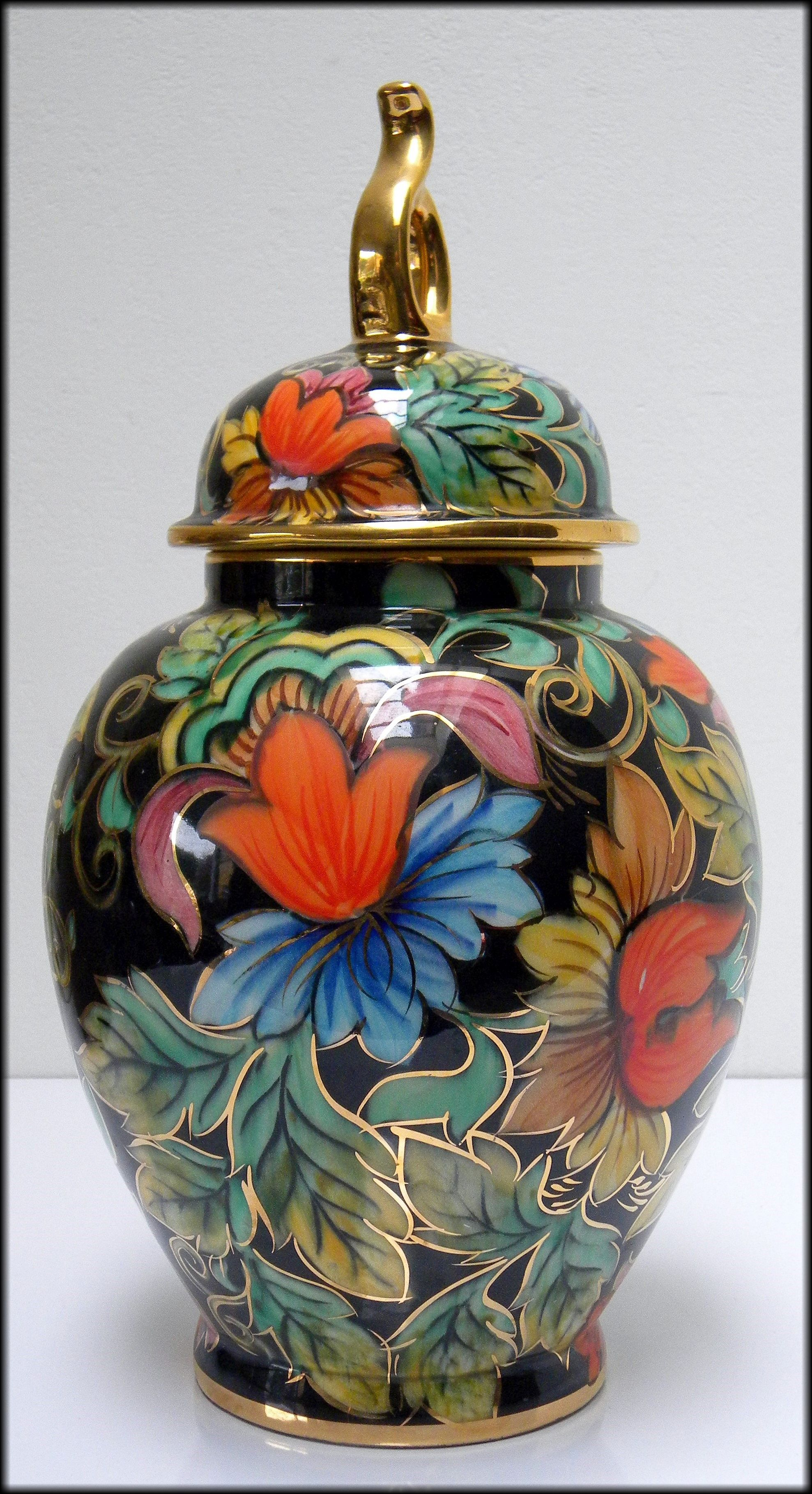 Stunning vintage ceramic vase with lid by h bequet of quaregnon stunning vintage ceramic vase with lid by h bequet of quaregnon from circa 1940s reviewsmspy