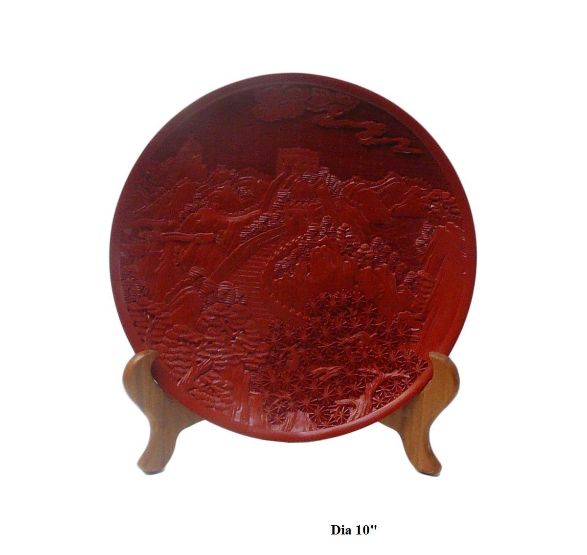 Chinese Red Lacquer Great Wall Scenery Motif Decor Plate