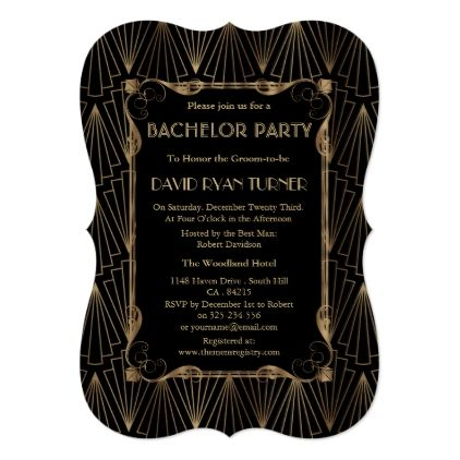 Old Hollywood Gold Great Gatsby Bachelor Party Card Stag nights