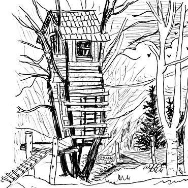 Cabane dans les arbres dessin gratuit - Coloriage de cabane ...