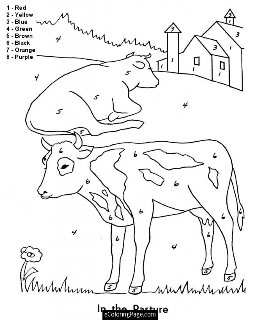 Farm animals coloring pages for toddlers - Farm Animal Printable Sheet To Color By Number For Children