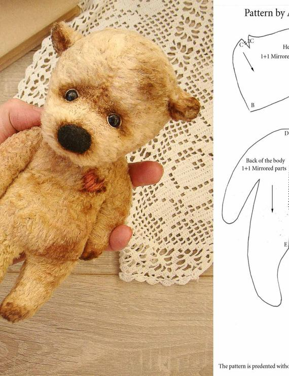 Beige plush teddy bear pattern, Cute plush toy, OOAK #teddybearpatterns