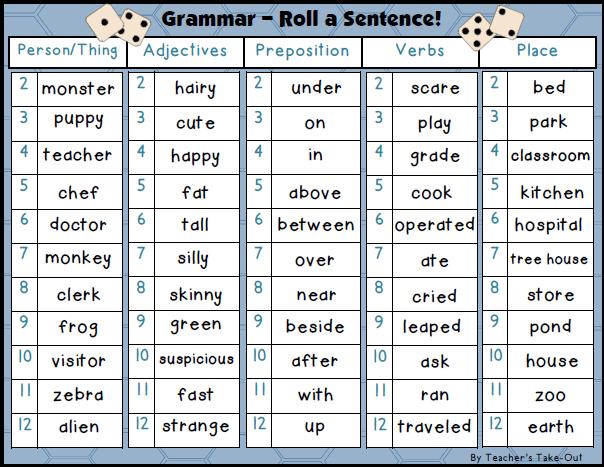 freebie  grammar - roll a sentence