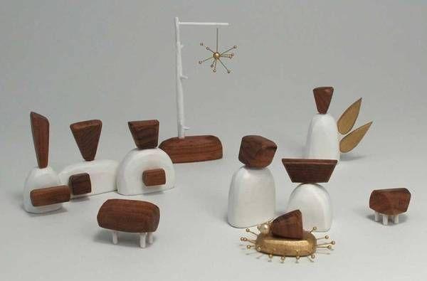 Modern Abstract Walnut Wood Nativity Scene Nativity Set Nativity Scene Modern Nativity Set
