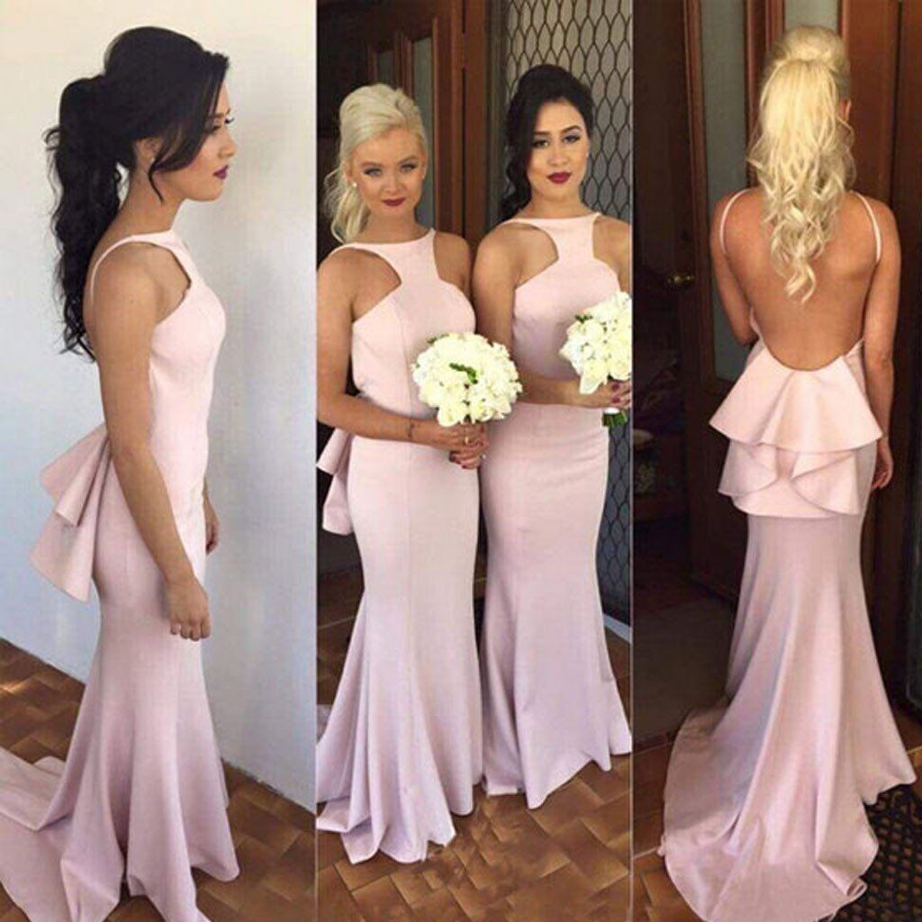On Sale Popular Charming Open Back Sexy Mermaid Long Bridesmaid
