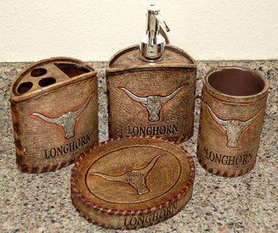 Texas Longhorn Bathroom Vanity Set, Texas Longhorn Bathroom Set