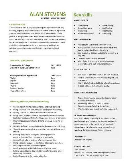 General Labor Resume Samples -    topresumeinfo general-labor - sample construction laborer resume