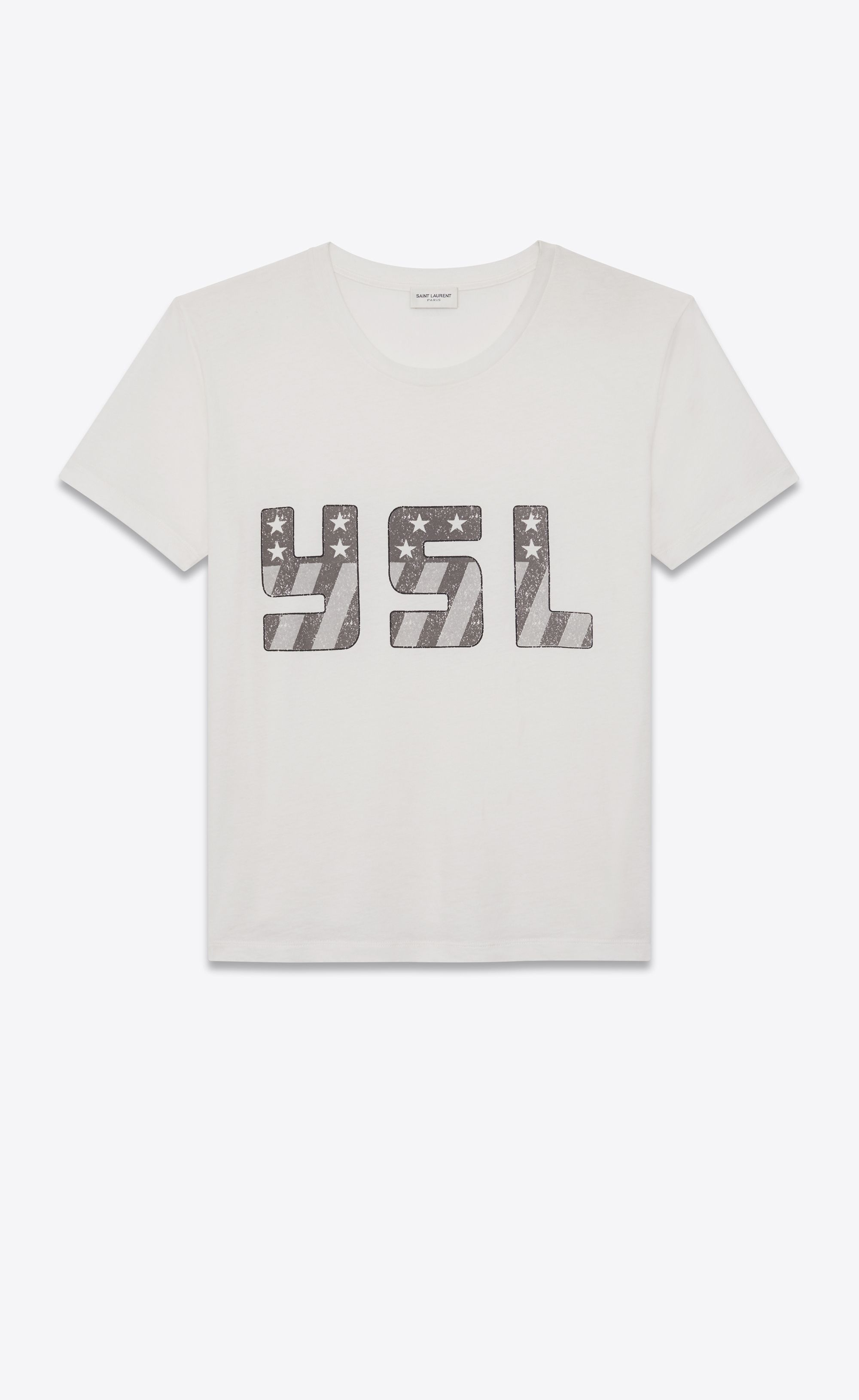 14e9e74dac Saint Laurent - T-shirt in off-white jersey printed with YSL   TOPS ...
