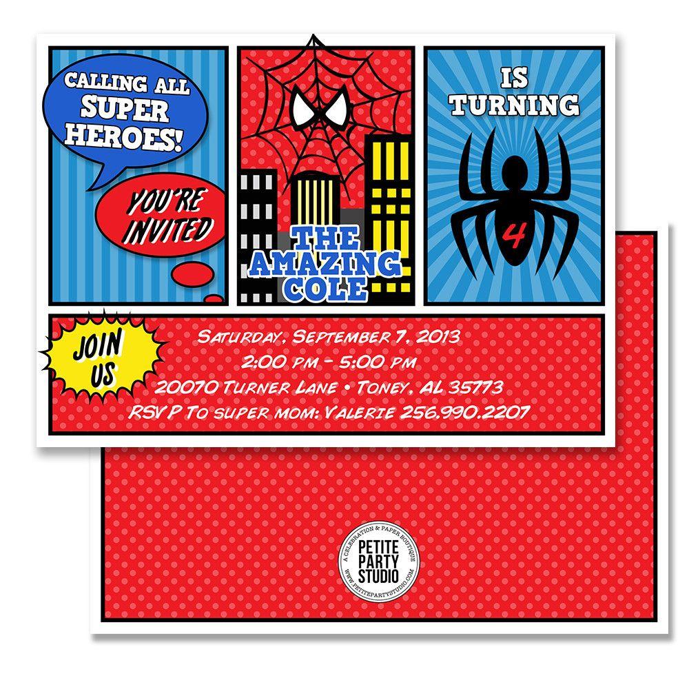 Spiderman Party Invitations Choice Image - Party Invitations Ideas