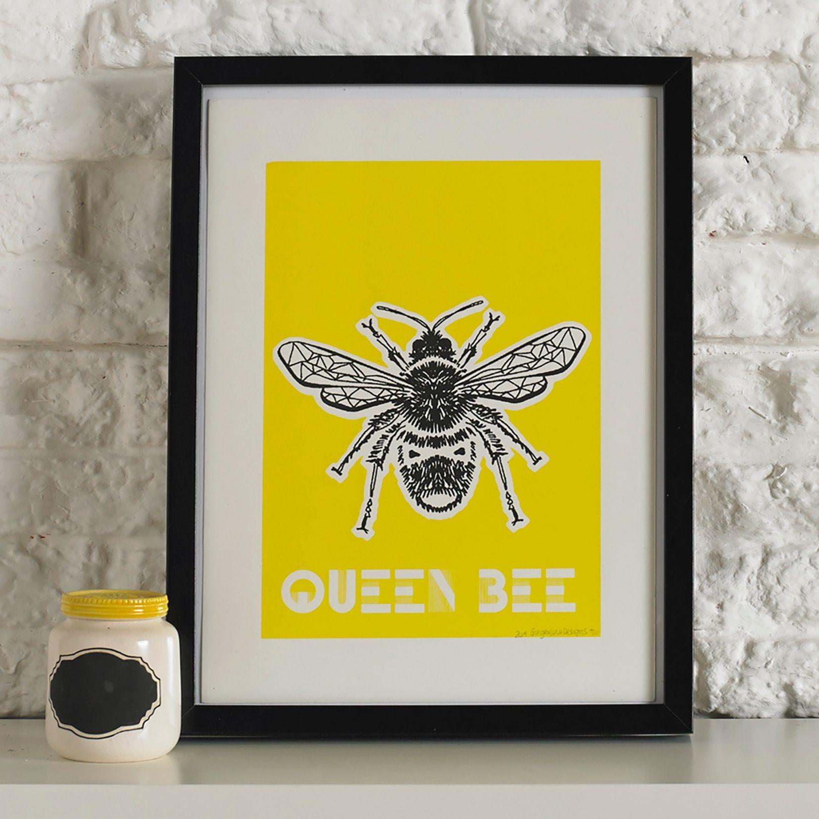 Queen Bee Screen Printed Wall Art | MicroMkt Art | Pinterest | Queen ...