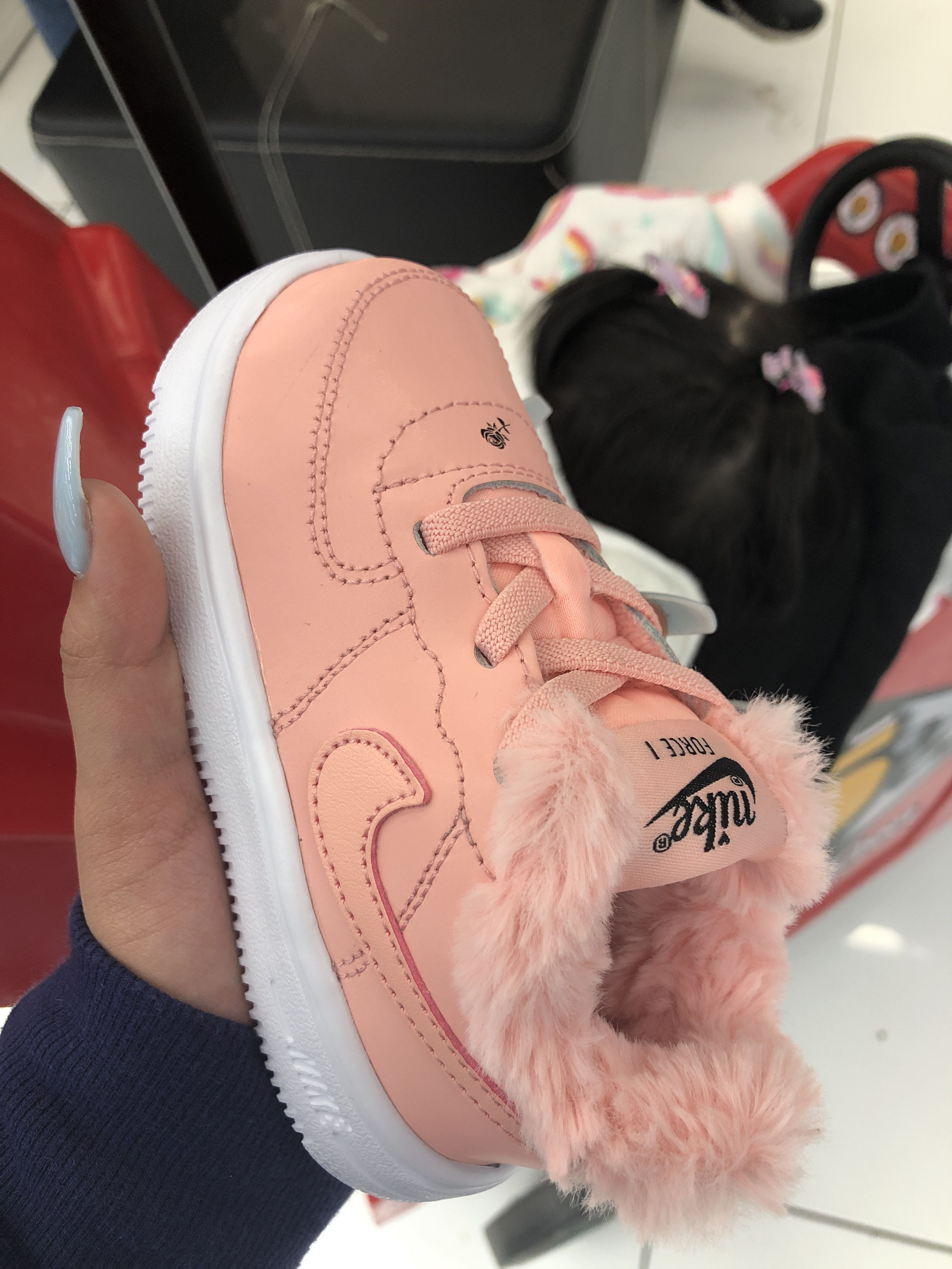Pink, fluffy, air forces for baby girls