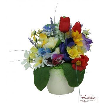 Amestec de primavara - Aranjament cu flori artificiale
