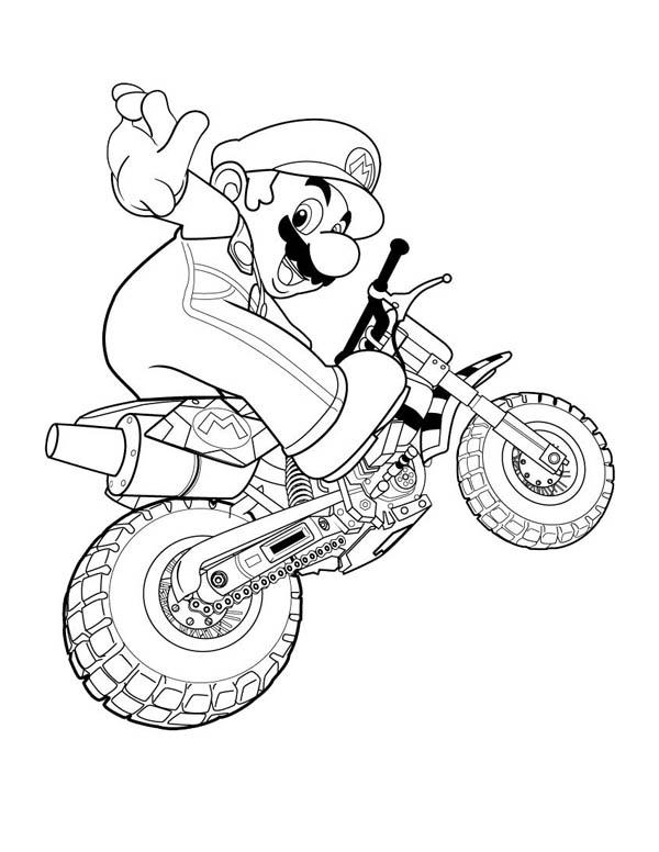 Super Mario Brothers Ride Motorbike Coloring Page : Color ...