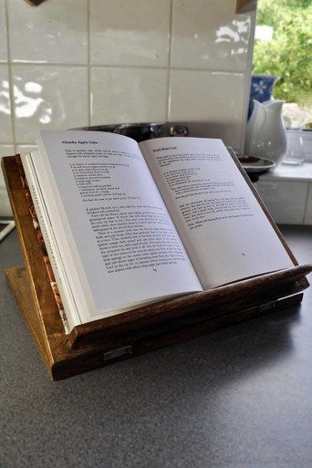 This recipe book stand, made from varnished mango wood, is perfect for both cookbooks and iPads.  #Recipe #Cookbook #Kitchen #BookStand