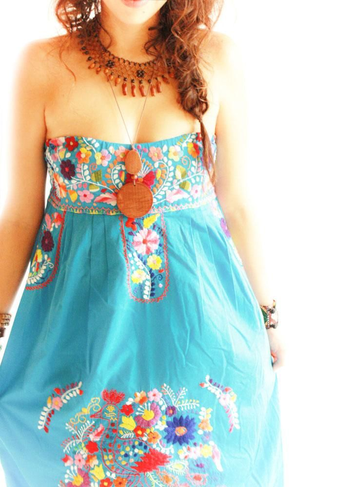 El Mar strapless embroidered Mexican dress - Aida Coronado
