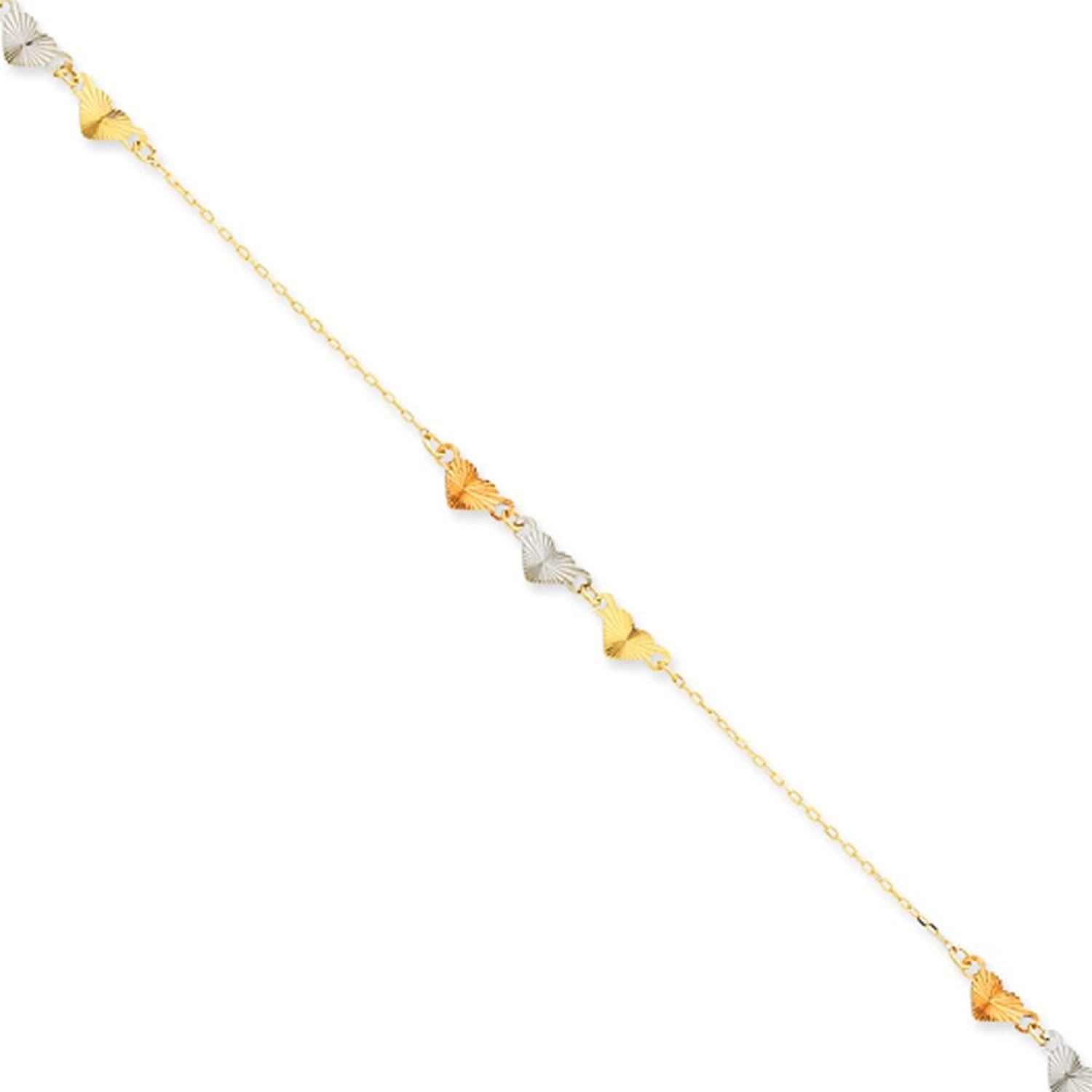 anklet ankle diamond bracelet handmade chain pin yellow solid inch rope cut gold