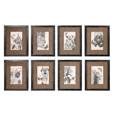 set of 8 framed burlap and botanical prints the burlap pushes it into