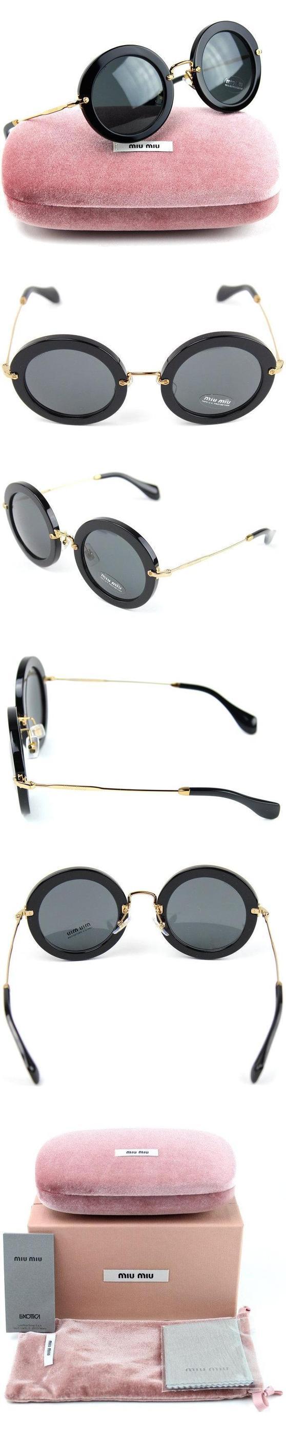 Miu Miu MU 13NS Noir Round Sunglasses Black Frame / Grey Lens (1AB/1A1) #apparel #eyewear #miumiu #sunglasses #shops #women #departments