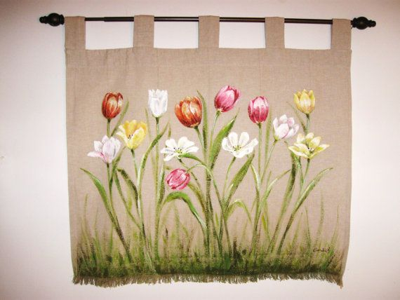 Spring Tulips Fabric Art Wall Hanging Hand Painted Fiber Wall