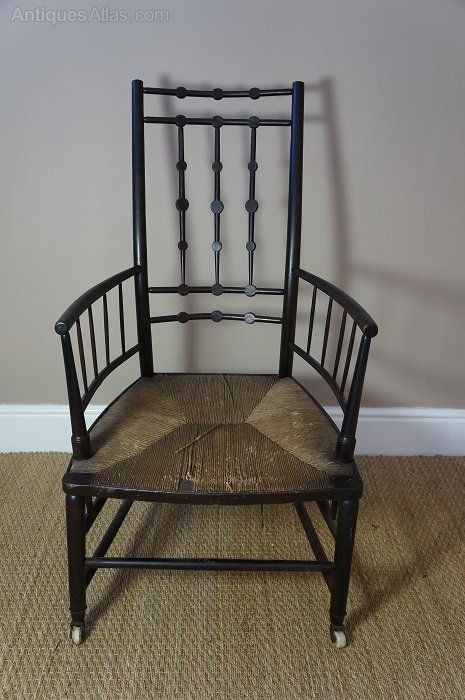 Arts and Crafts, rush seated, arm chair. View 1.More Pins Like This At FOSTERGINGER @ Pinterest
