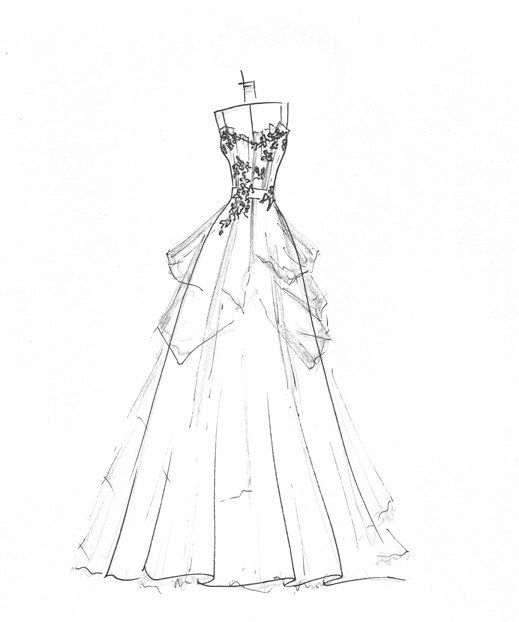 Custom Gown Sketch Great Gift For Anniversary Or Shower 8900 Via Etsy