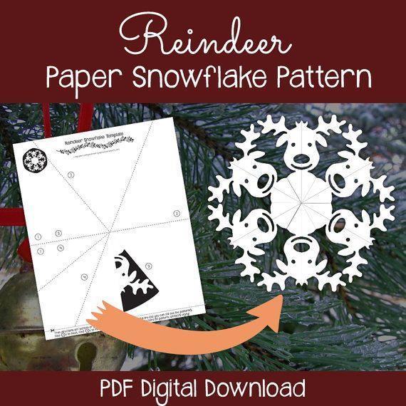reindeer paper snowflake template  Reindeer Paper Snowflake Pattern PDF Digital by ...