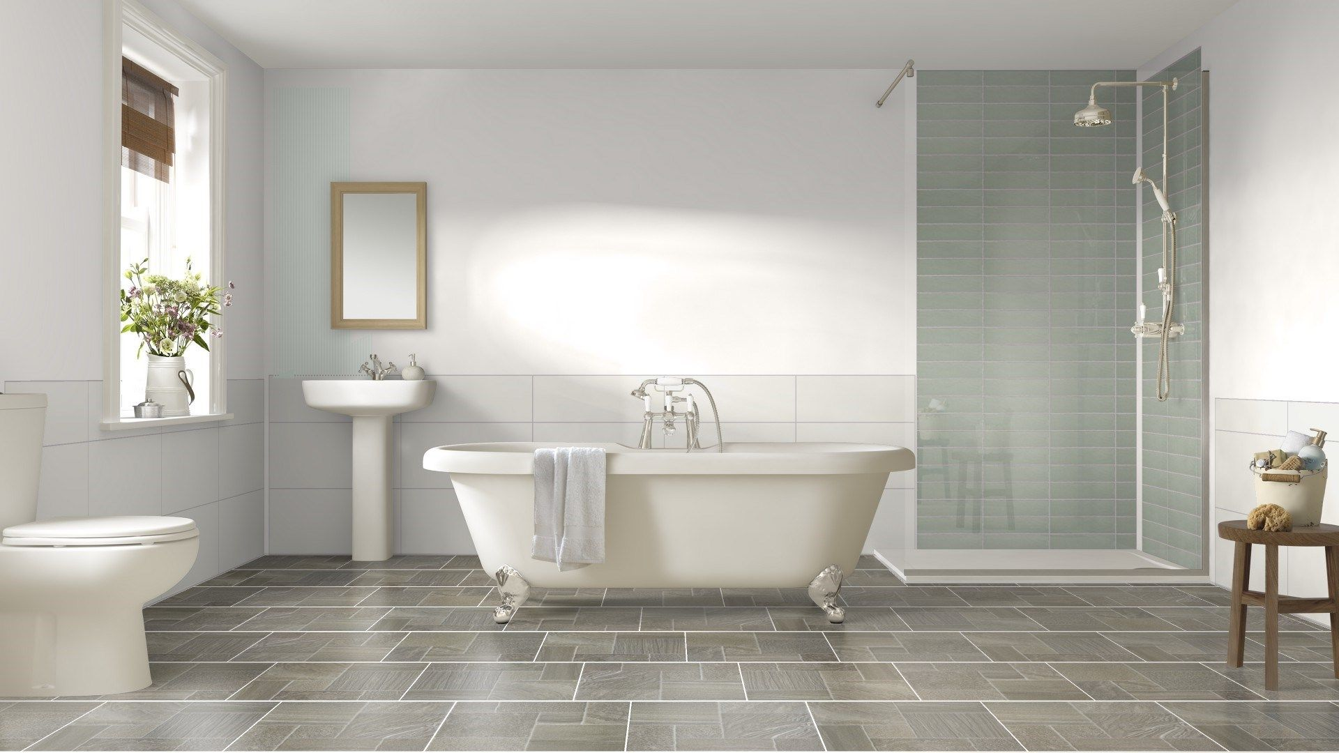 Tile Giant Design Option 1 Diffe Colour Wet Room Beige Floor Tiles And White Wall