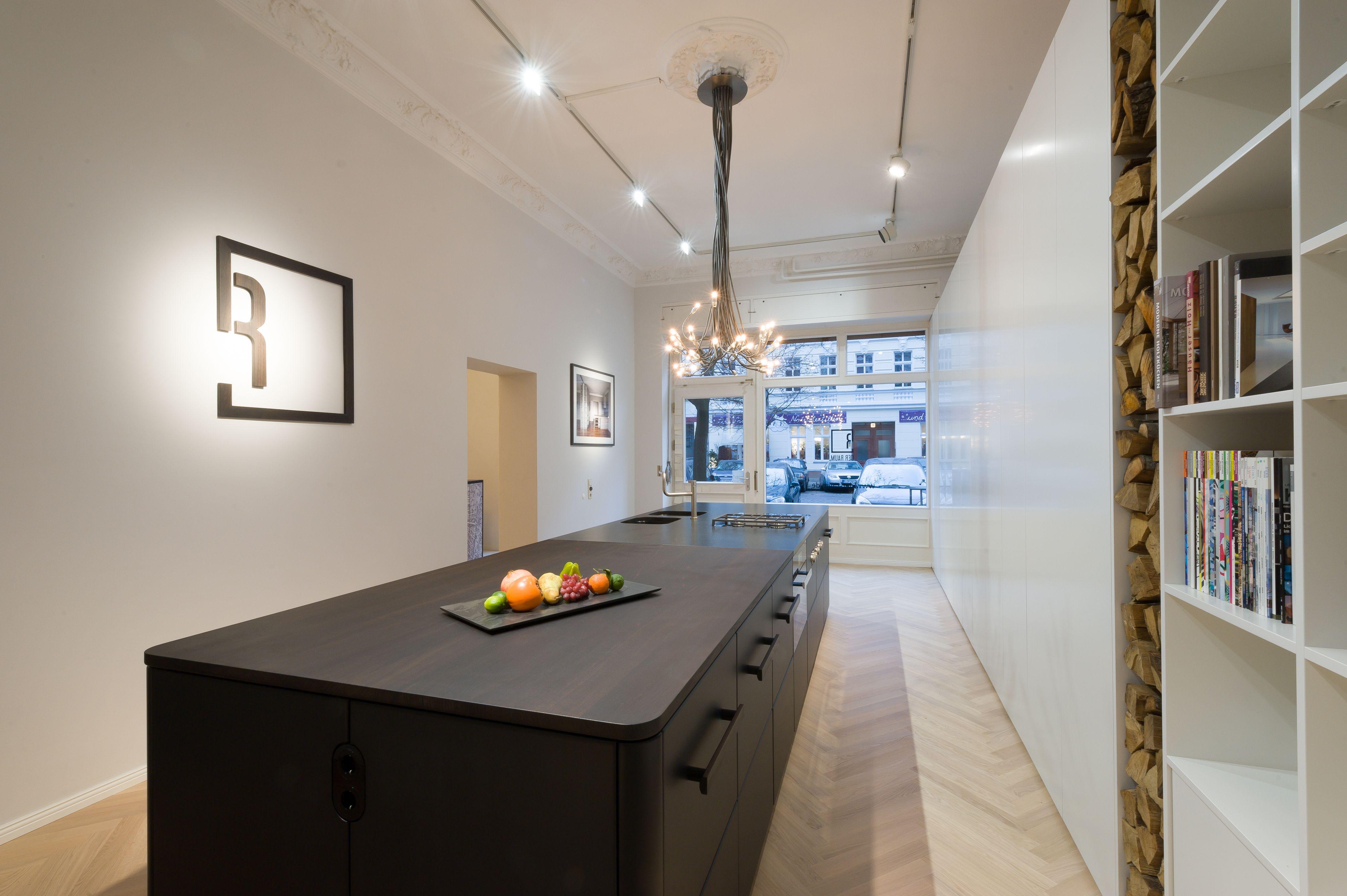 Küche, Mittelblock, Räuchereiche, schwarz lackiert | DER RAUM ...