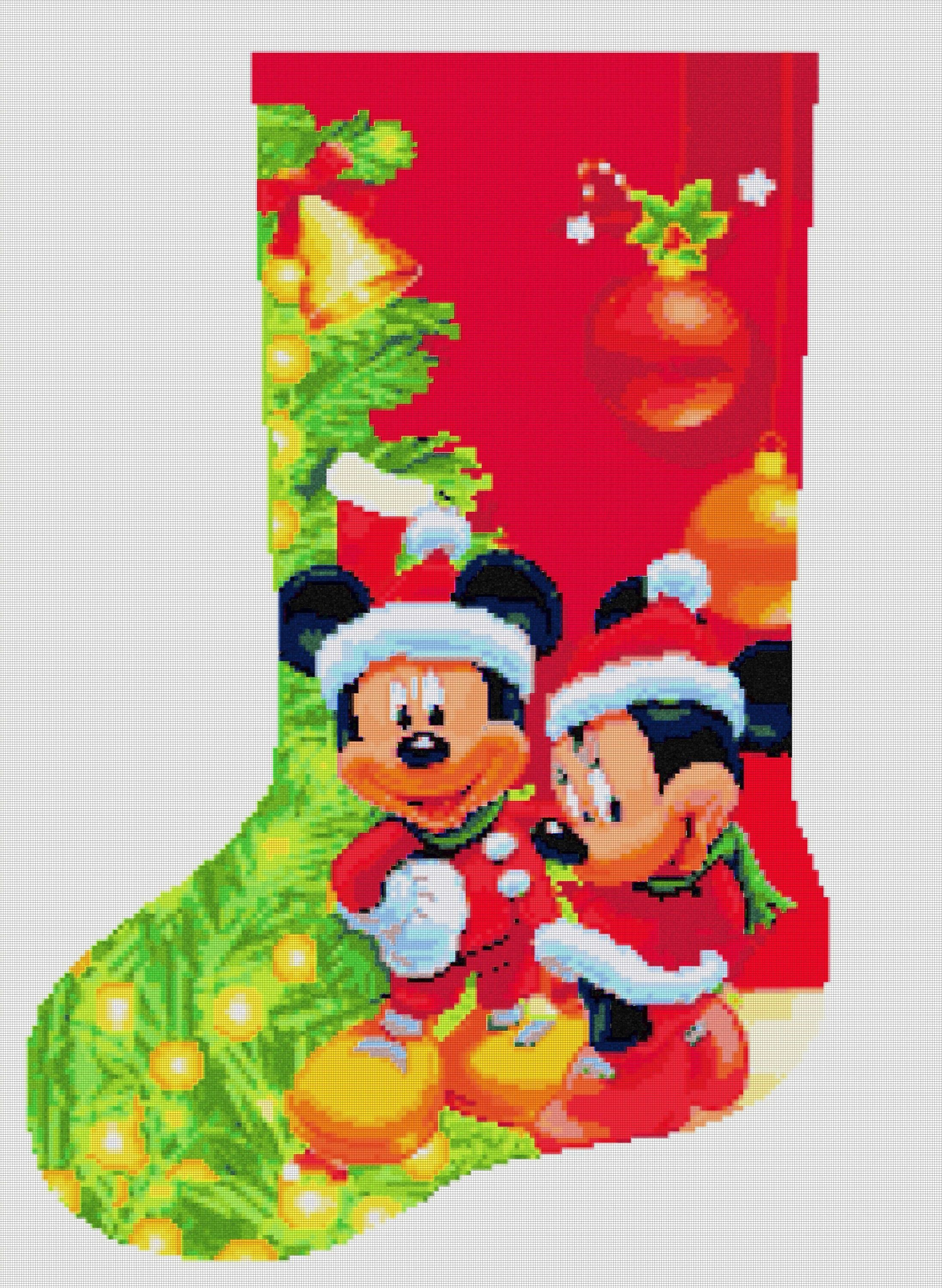 Christmas stocking disney mickey and minnie mouse 958