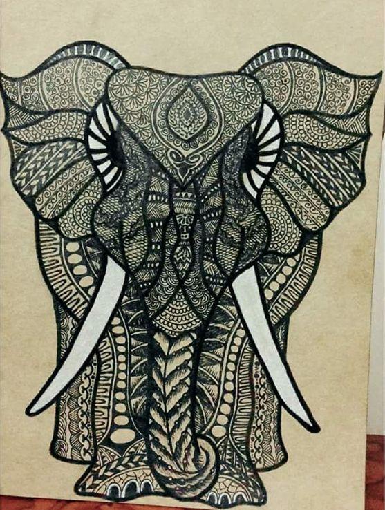 #doodleart #doodle #mandala #mandalaart #elephant #design ...