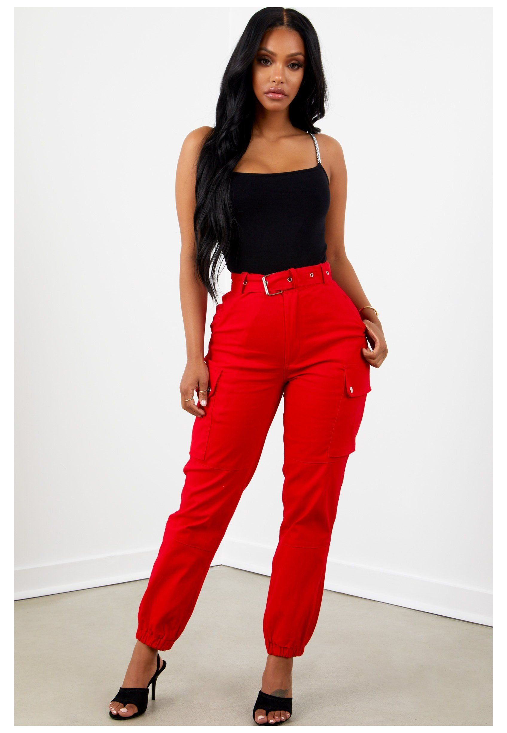 Sorella Boutique Women S Men S Fashion Clothing Apparel Red Cargo Trousers Redcargotrousers In 2021 Fashion Pants Pants Women Fashion Cargo Pants Outfit
