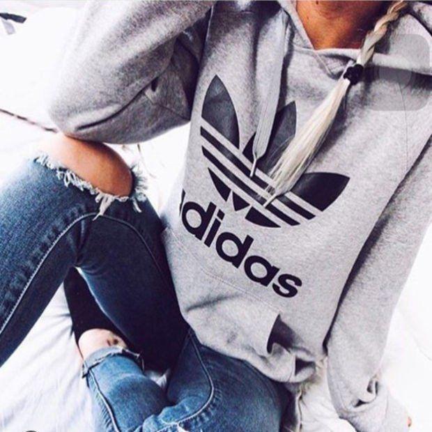 "Fashion ""Adidas"" Print Hooded Pullover Tops Sweater Sweatshirts"
