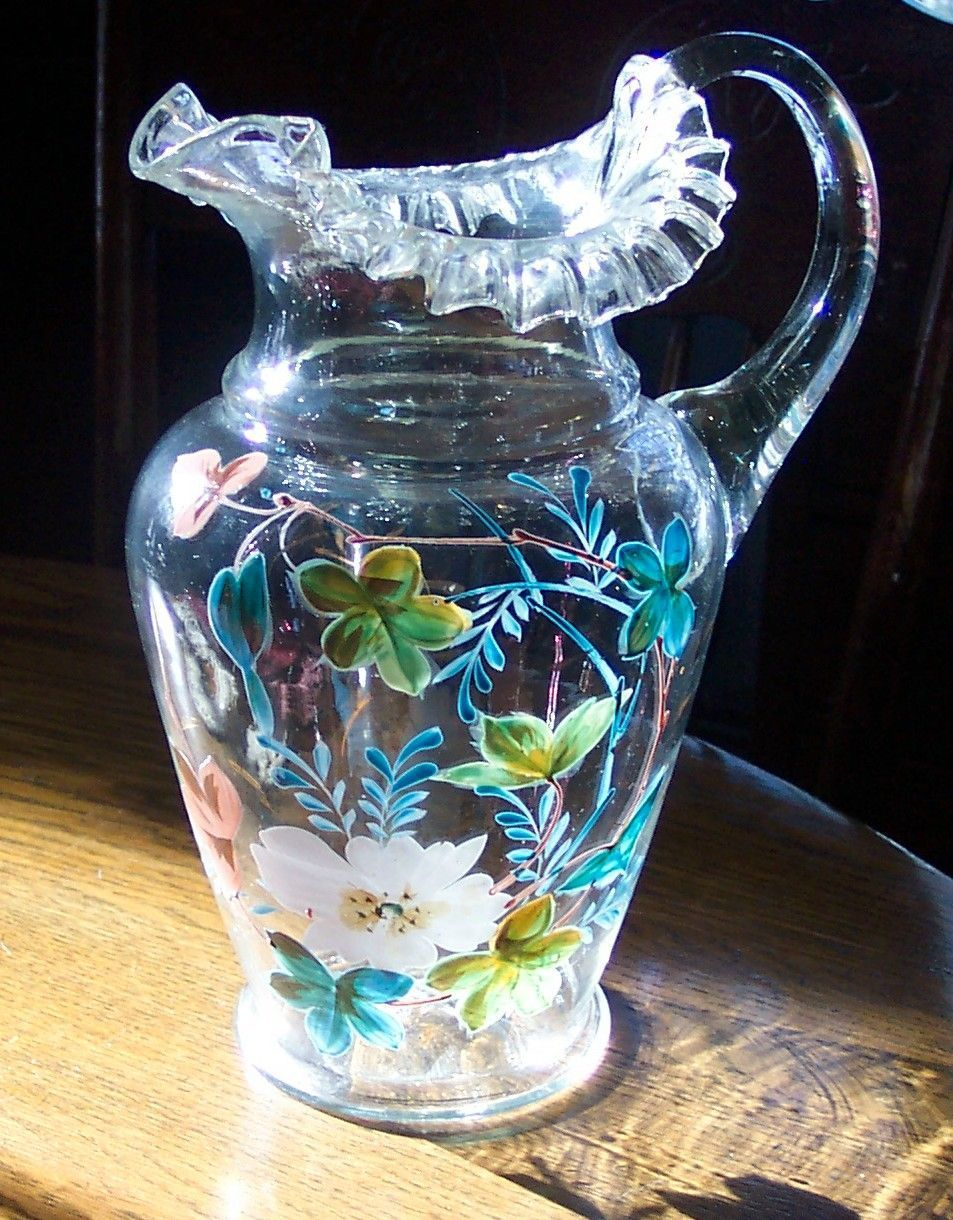 Clear Blown Glass Pitcher with Heavy Enamelling Glass