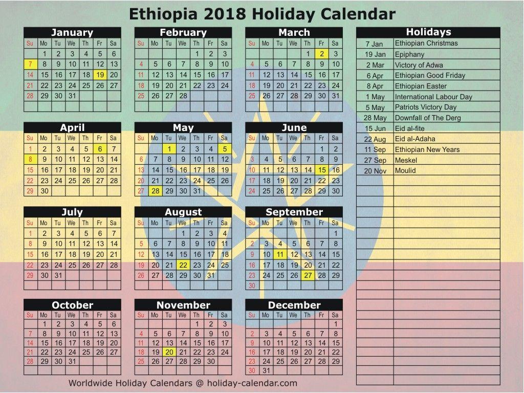 Ethiopia 2019 2020 Holiday Calendar Holiday Calendar 2018