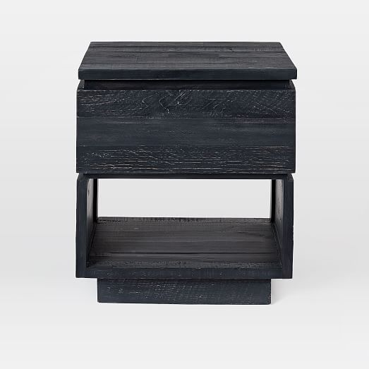 emmersonr modern reclaimed wood nightstand ink black wood