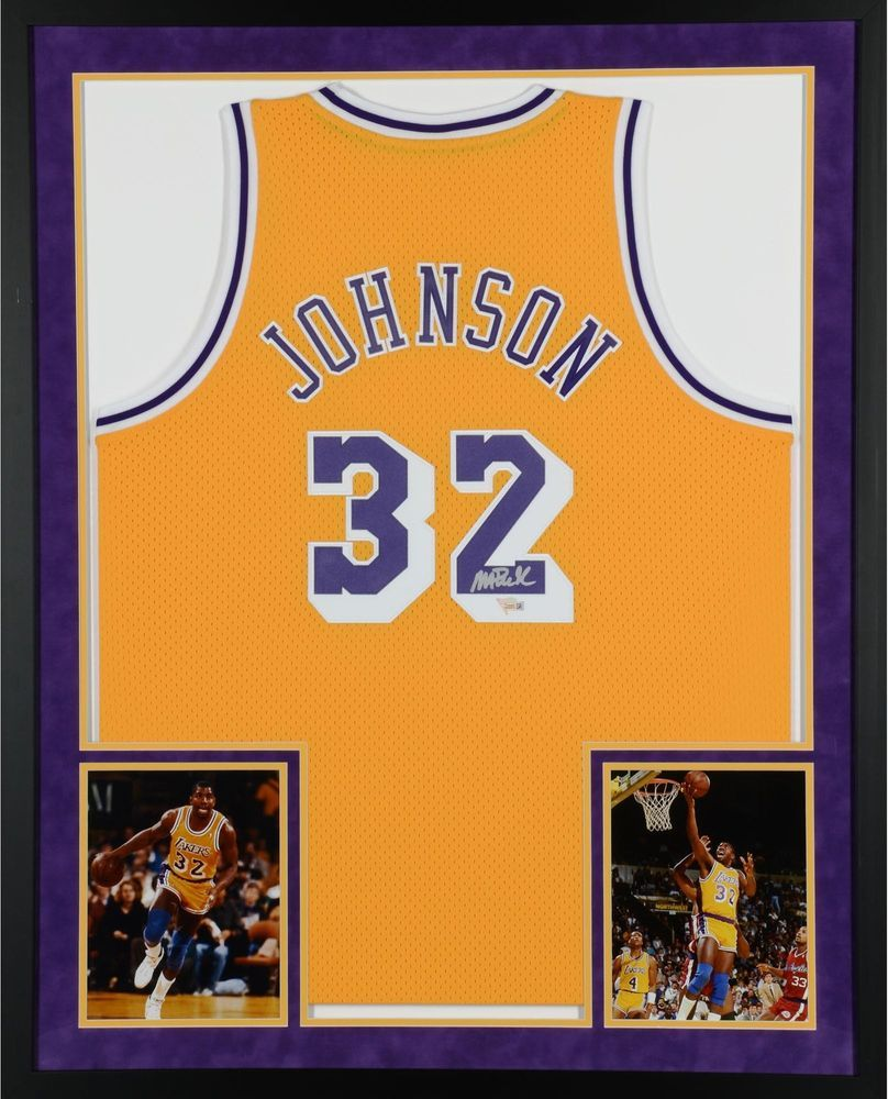 7797cac0fa9 Magic Johnson LA Lakers Framed Signed Yellow Jersey - Fanatics ...