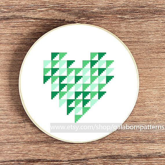 Geometric heart PDF counted cross stitch pattern by galabornpatterns