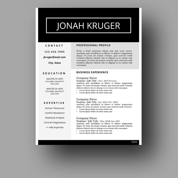 Modern Masculine Resume Template  Two Page  Cover Letter  Use