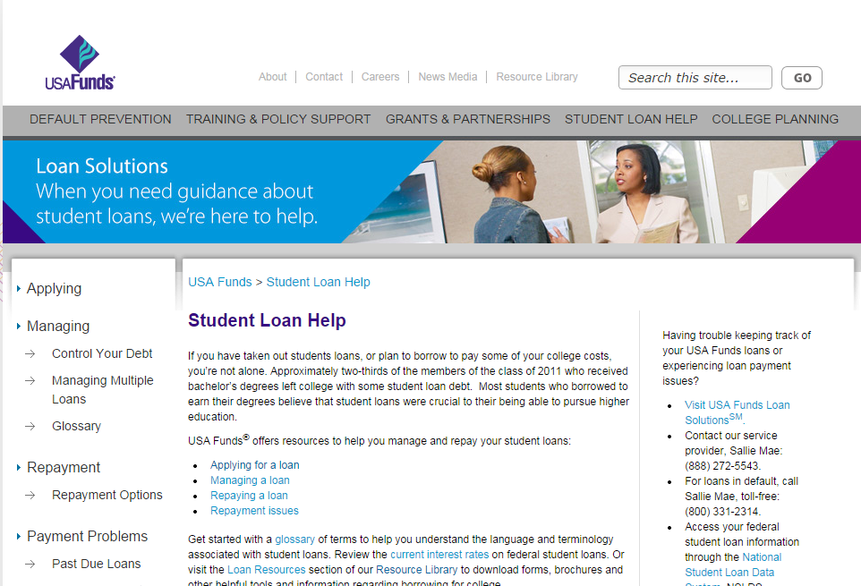 Information From Usa Funds About Student Loans   Repayment