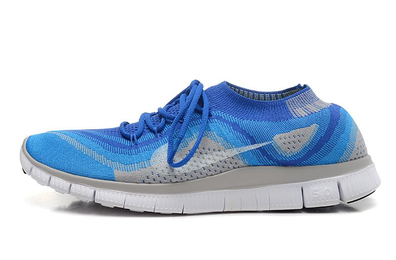 finest selection 13dfb 5d6e1 Nike Free Flyknit 5.0 Game Royal Blue Best On Feet Glow Wolf Grey Noble  White 615805 413