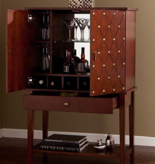 Vintage Bar Cabinet Liquor Wine Cocktail Bottle Holder Rack