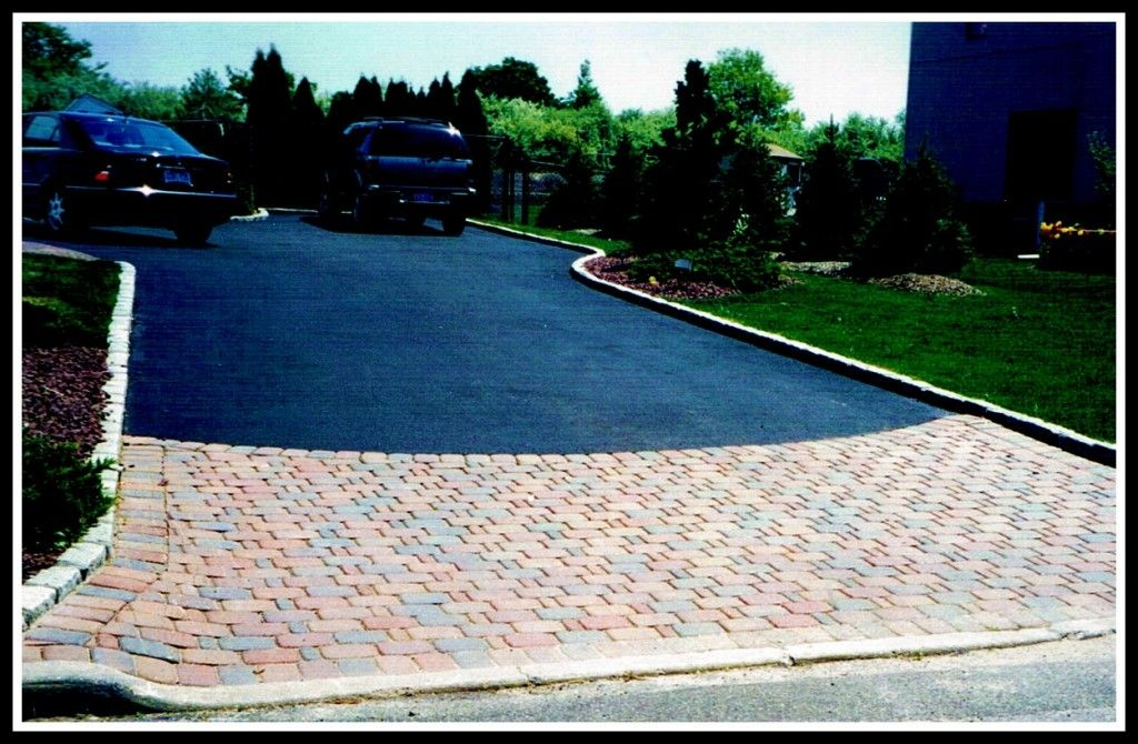 Asphalt driveway with paver apron and belgium block border for Driveway apron ideas