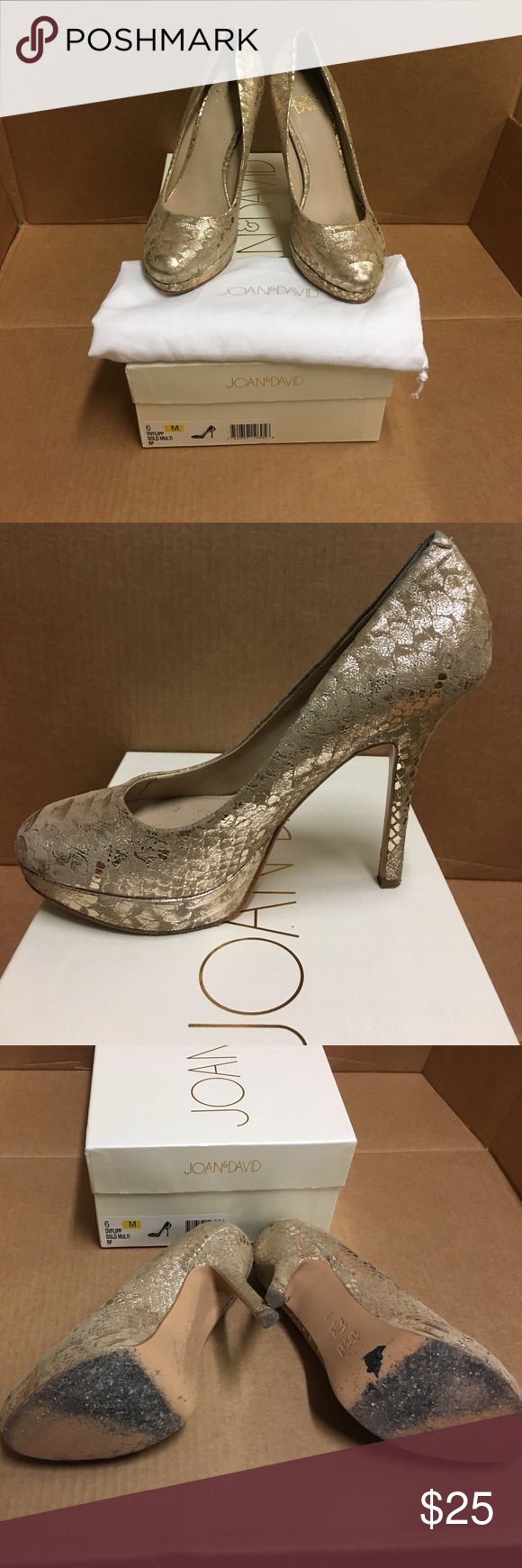Shoes Great pumps for any day or night! Gold platform pumps that are in good condition and only wear is on the bottom! Will be cleaned before shipping. Includes original box and dust bag. Pet and smoke free home Joan & David Shoes